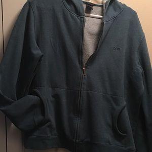 Blue zip front hoodie sweatshir, front pockets